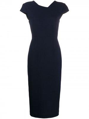 Приталенное платье миди с короткими рукавами Roland Mouret. Цвет: синий
