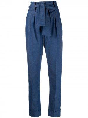 Зауженные брюки Saras с поясом Sara Battaglia. Цвет: синий