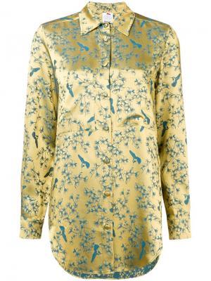 Рубашка с принтом птиц и отблеском Ultràchic. Цвет: желтый