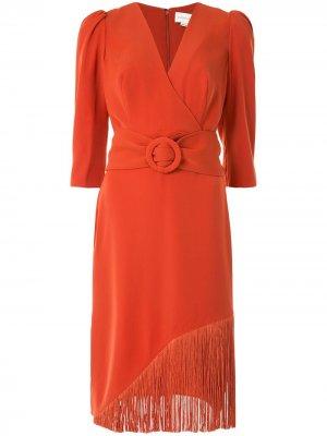 Платье с запахом и бахромой Sachin & Babi. Цвет: оранжевый
