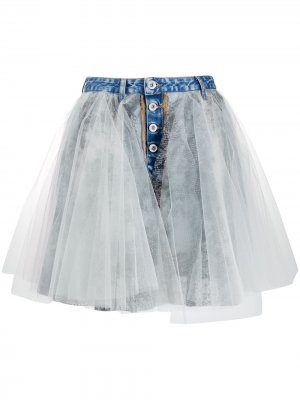 Джинсовая юбка со вставками UNRAVEL PROJECT. Цвет: синий