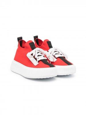 Высокие кроссовки-носки Marni Kids. Цвет: красный