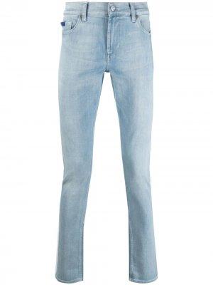 Узкие джинсы с эффектом потертости 7 For All Mankind. Цвет: синий