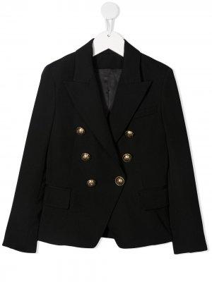 Приталенный двубортный пиджак Balmain Kids. Цвет: черный