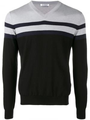 Panelled stripe sweater Dirk Bikkembergs. Цвет: черный
