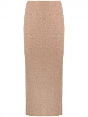 Трикотажная юбка-карандаш длины миди Manning Cartell. Цвет: коричневый
