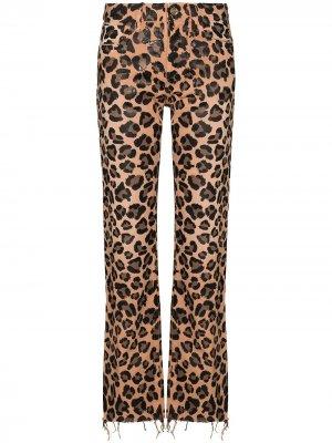 Прямые джинсы с леопардовым принтом Alanui. Цвет: коричневый
