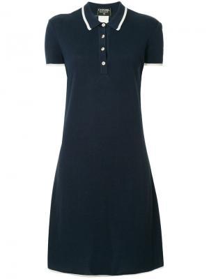 Платье-рубашка с воротником-поло Chanel Vintage. Цвет: синий