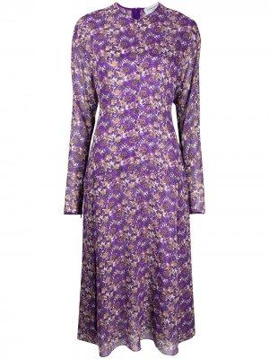 Платье миди с цветочным принтом Victoria Beckham. Цвет: фиолетовый