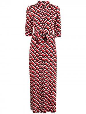 Платье-рубашка с геометричным принтом DVF Diane von Furstenberg. Цвет: красный