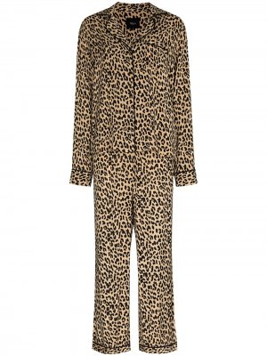 Пижама с леопардовым принтом Rails. Цвет: черный
