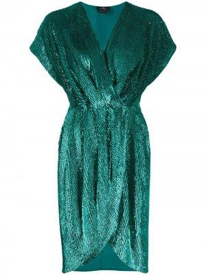 Коктейльное платье с запахом и пайетками Elisabetta Franchi. Цвет: зеленый