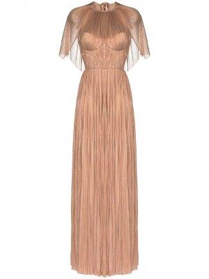 Плиссированное вечернее платье Candace с кейпом Maria Lucia Hohan. Цвет: нейтральные цвета