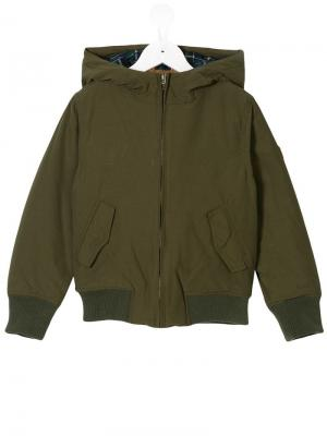 Куртка бомбер с капюшоном American Outfitters Kids. Цвет: зеленый