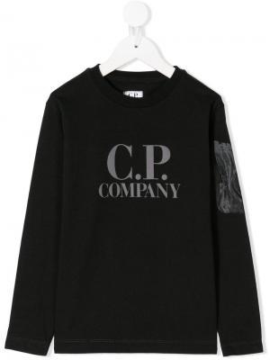 Logo print T-shirt Cp Company Kids. Цвет: черный