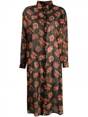 Платье с цветочным принтом и эффектом металлик Mes Demoiselles. Цвет: черный
