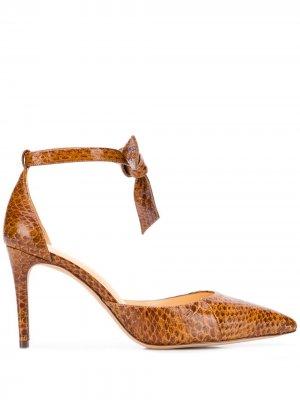 Туфли-лодочки с тиснением под кожу змеи Alexandre Birman. Цвет: коричневый