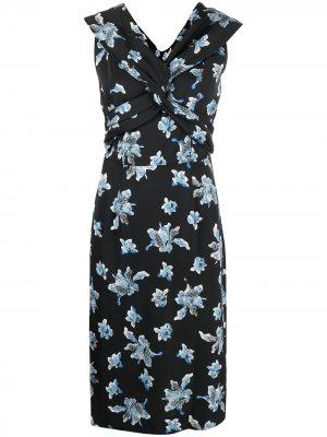Платье миди с цветочным принтом DVF Diane von Furstenberg. Цвет: черный