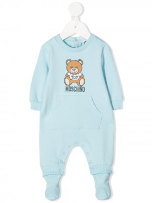 Пижама с логотипом Moschino Kids. Цвет: синий