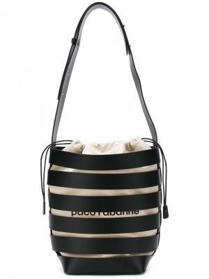 Большая сетчатая сумка-хобо Paco Rabanne. Цвет: черный