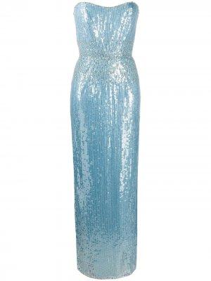 Вечернее платье без бретелей с пайетками Jenny Packham. Цвет: синий