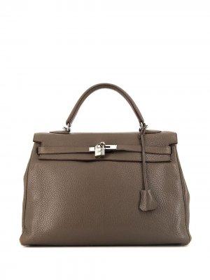 Сумка Kelly 35 pre-owned Hermès. Цвет: коричневый