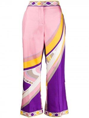 Укороченные брюки с абстрактным принтом Emilio Pucci. Цвет: розовый