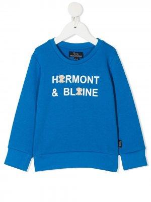 Толстовка с круглым вырезом и графичным принтом Harmont & Blaine Junior. Цвет: синий