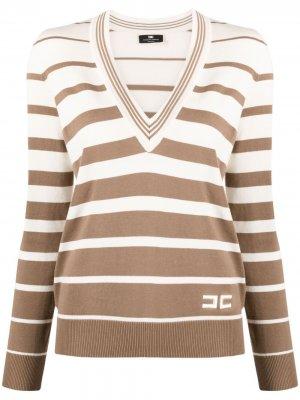 Полосатый свитер с V-образным вырезом Elisabetta Franchi. Цвет: нейтральные цвета