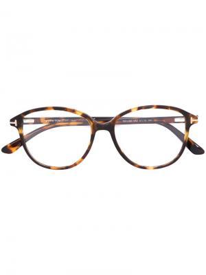 Оптические очки в круглой оправе Tom Ford Eyewear. Цвет: коричневый