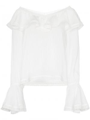 Ruffle trim V-neck blouse By Timo. Цвет: белый