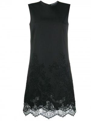 Платье миди с кружевом на подоле Ermanno Scervino. Цвет: черный