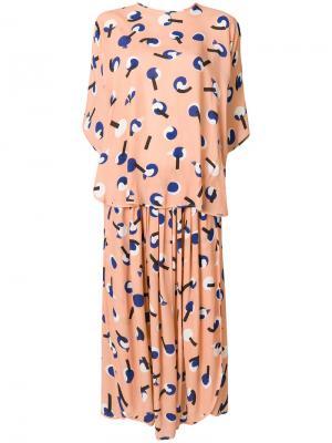 Узорчатое платье с напуском HENRIK VIBSKOV. Цвет: розовый