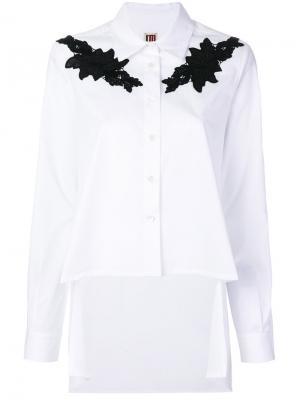 Рубашка с кружевной аппликацией I'M Isola Marras. Цвет: белый