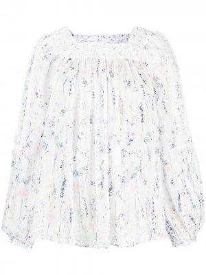 Блузка с цветочным принтом Ermanno. Цвет: белый