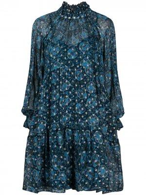 Ярусное платье с люрексом Sea. Цвет: синий