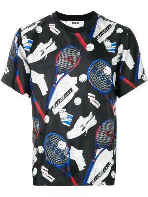 Футболка с теннисным принтом MSGM. Цвет: черный