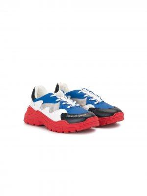 Кроссовки в стиле колор-блок Emporio Armani Kids. Цвет: разноцветный