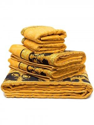 Комплект из пяти полотенец с принтом Medusa Versace Home. Цвет: желтый