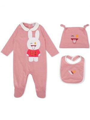 Подарочный комплект для новорожденного с принтом Emporio Armani Kids. Цвет: розовый