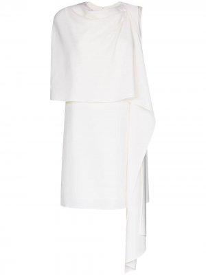 Платье мини с драпировкой Oscar de la Renta. Цвет: белый