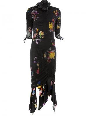 Платье с цветочным принтом Preen By Thornton Bregazzi. Цвет: черный