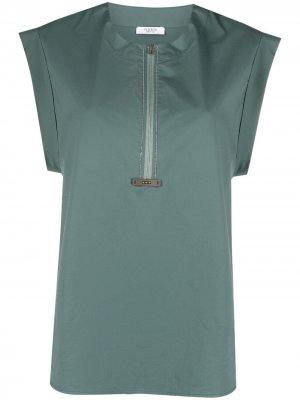 Блузка с эффектом металлик Peserico. Цвет: зеленый
