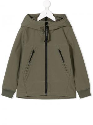 Full-zipped hoodie Cp Company Kids. Цвет: зеленый