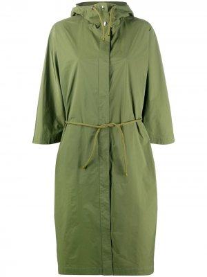 Пальто с капюшоном и кулиской Yves Salomon. Цвет: зеленый