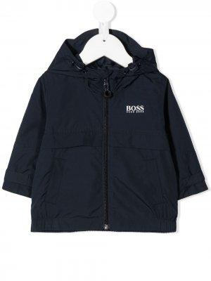 Куртка с капюшоном и логотипом BOSS Kidswear. Цвет: синий
