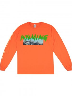 Футболка с принтом Wyoming Kanye West. Цвет: оранжевый