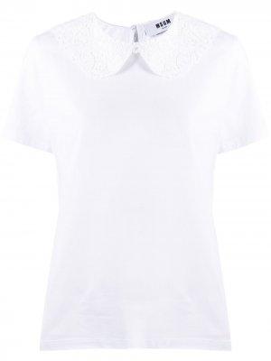 Рубашка поло с кружевом MSGM. Цвет: белый