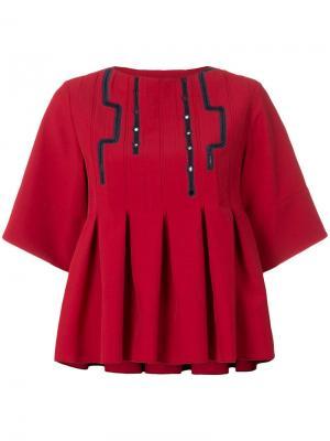 Cropped pleated blouse Carven. Цвет: красный