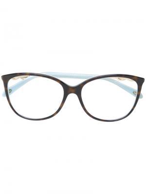 Классические квадратные очки Tiffany & Co Eyewear. Цвет: коричневый